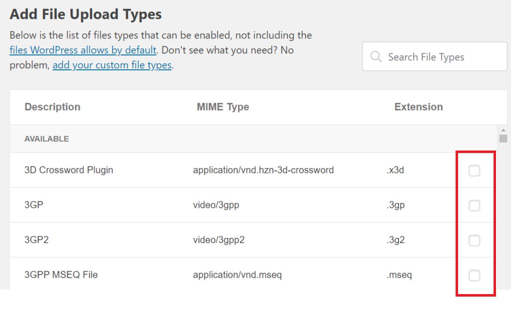 choose file upload types