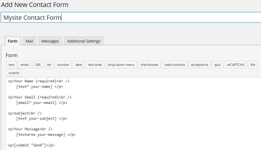 type form title for Contact Form 7