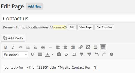 paste contact form short code to page