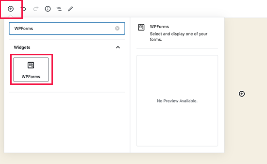 embed button in WPForms