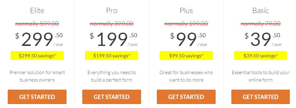 premium wpform pricing plans