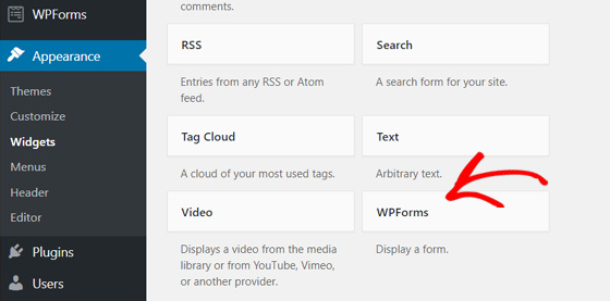 choose WPForms widgets