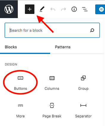 add button block default editor