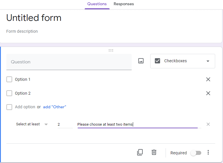 Google Form survey checkbox question type