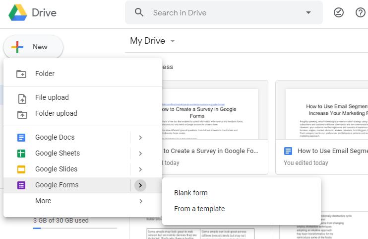 create a new Google Form survey