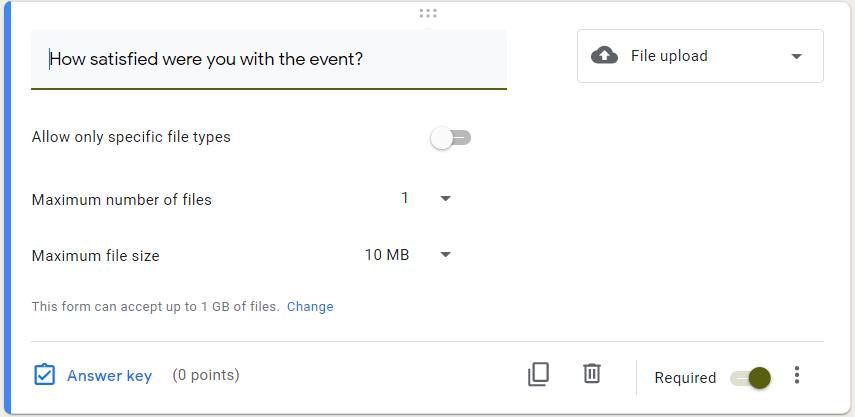 Google Form survey file upload