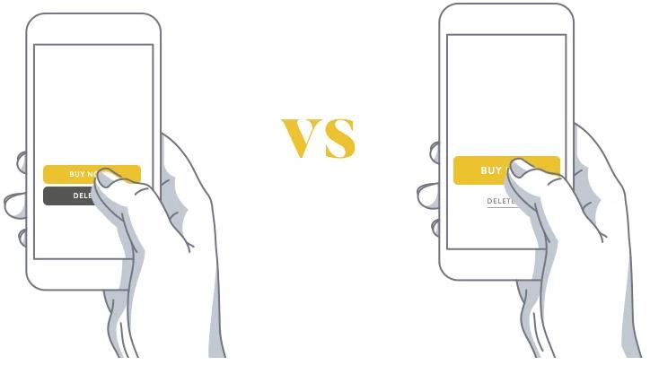 big vs small finger-sized app form