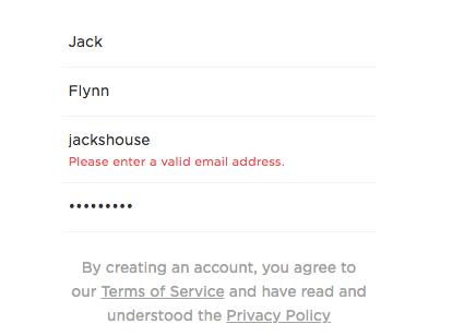 inline form validation