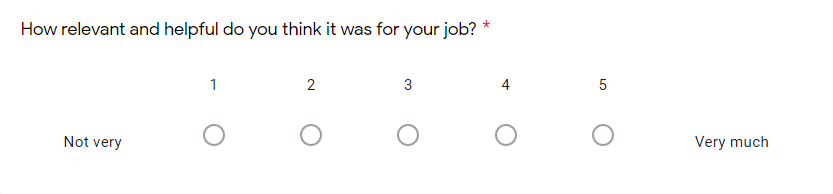 Google Form survey linear scale