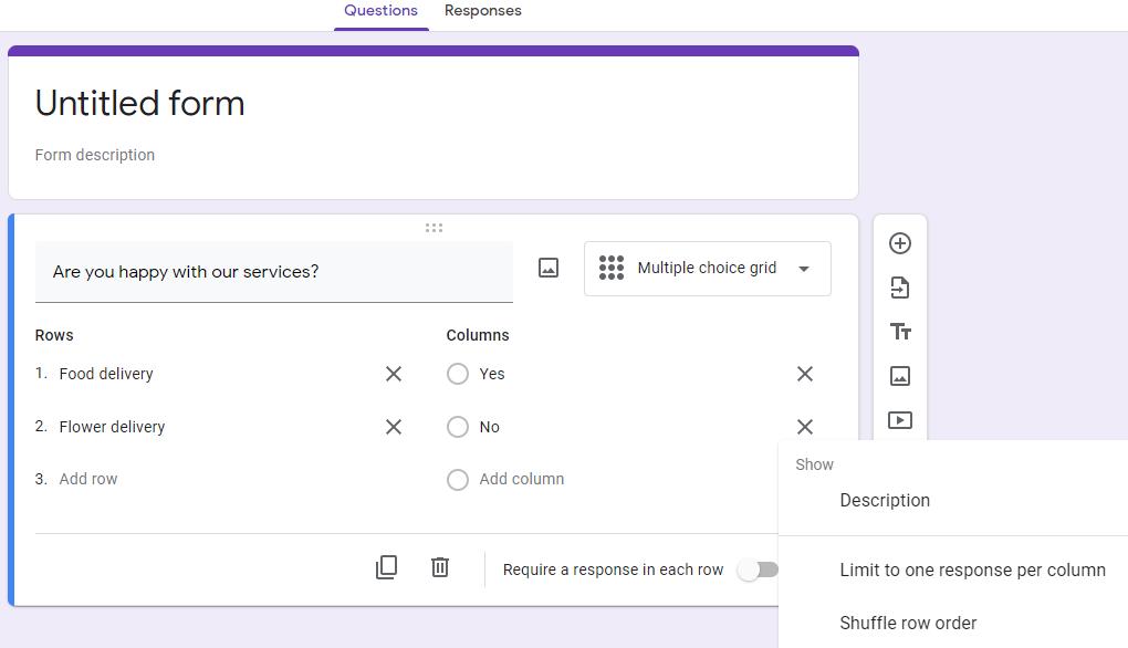 Google Form survey multiple choice grid