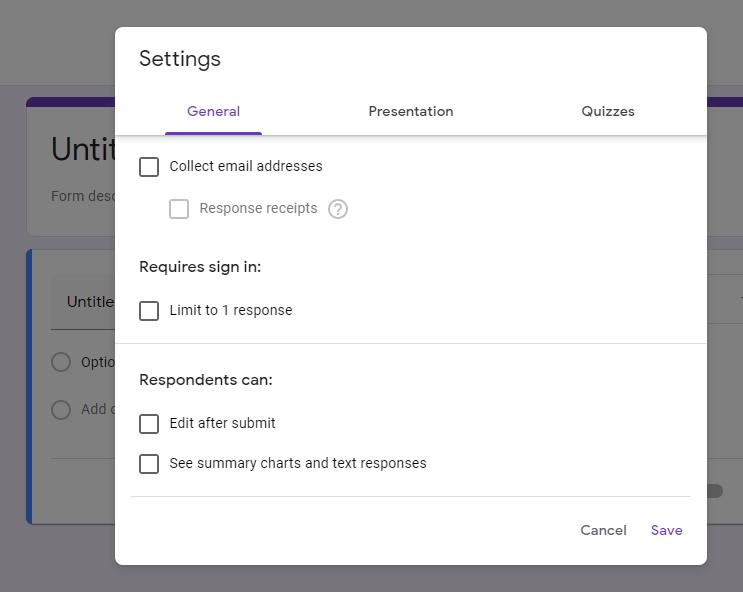 survey general settings