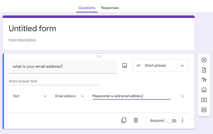 set a question required in Google Form