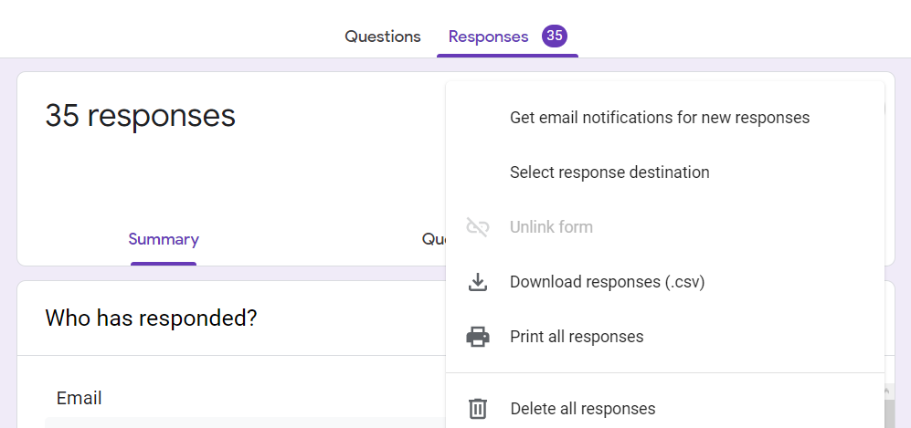 select response destination in Google Form survey