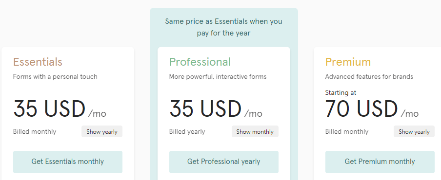 Typeform pricing plans