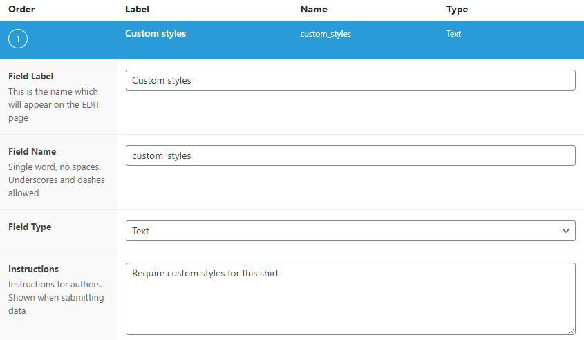 add custom field information
