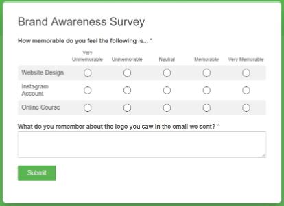 brand awareness multiple choice survey