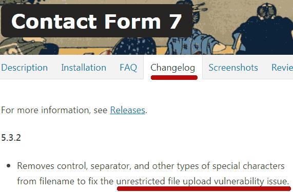 contact form 7 vulnerability changelog update