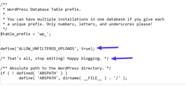 insert code into wp-config.php file