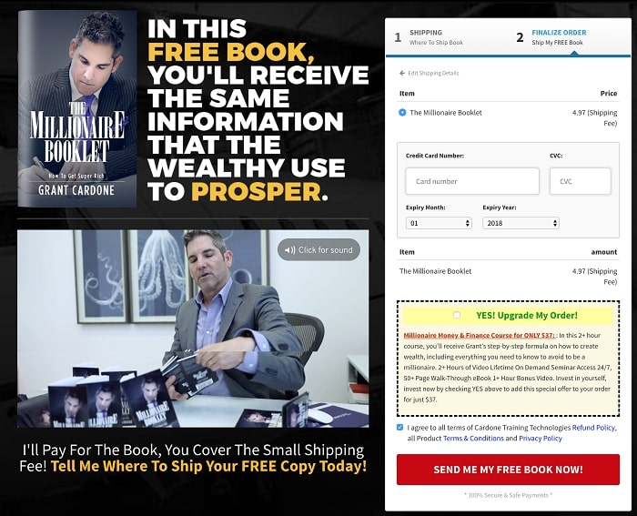 the Billionaire Booklet one-page checkout