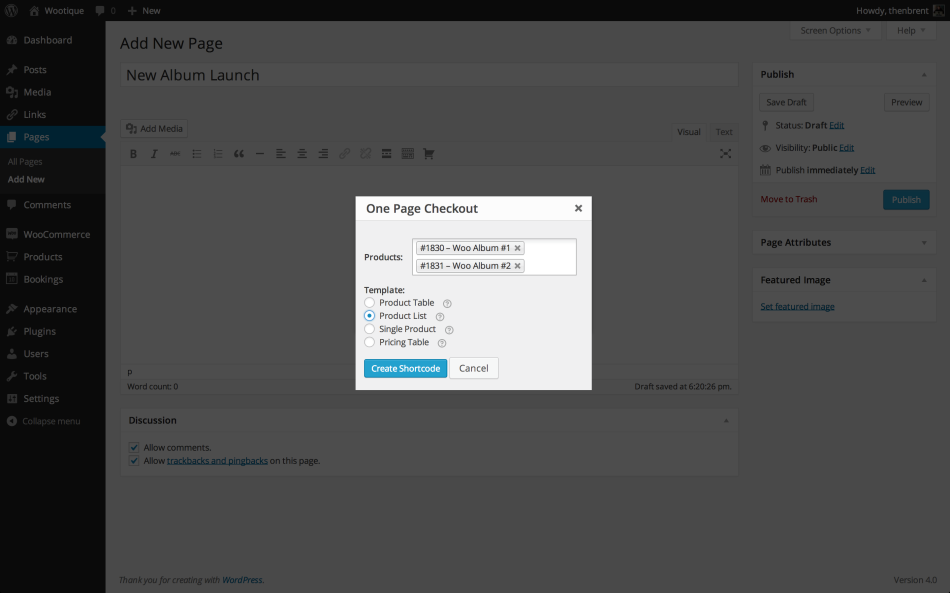 create WooCommerce one-page checkout shortcode