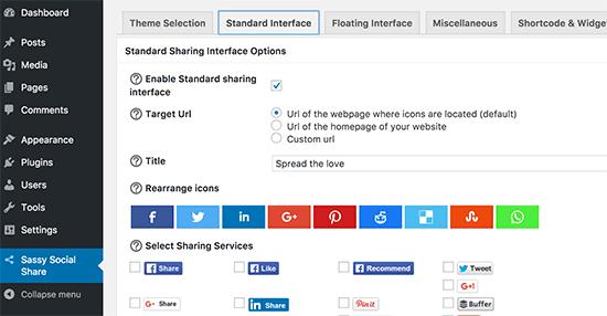 sassy social share icon settings