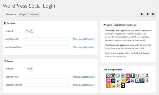 wordpress social login interface