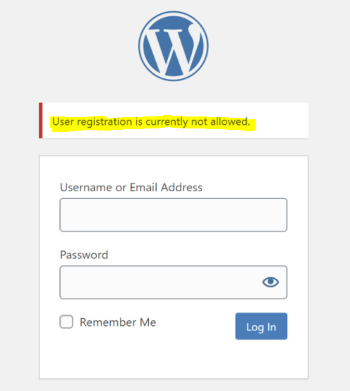 """the """"User registration is not allowed"""" message shows up"""