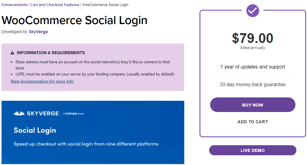 WooCommerce Social Login plugin