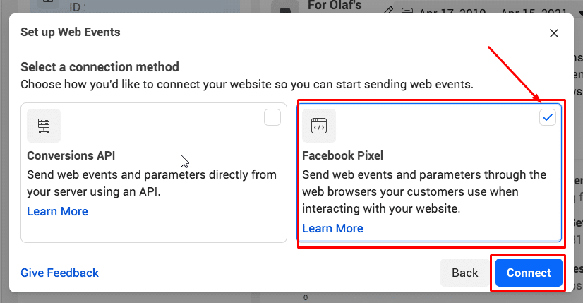 """click """"Facebook Pixel"""" and choose """"Connect"""""""