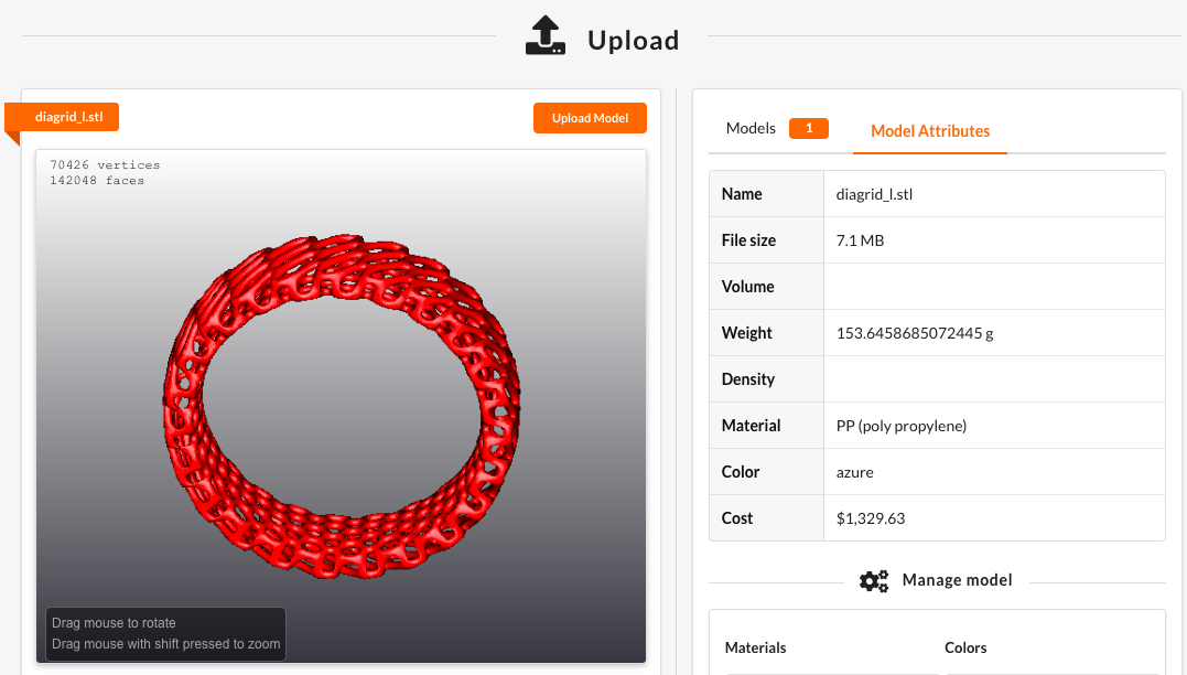 Phanes3DP's 3D model settingss