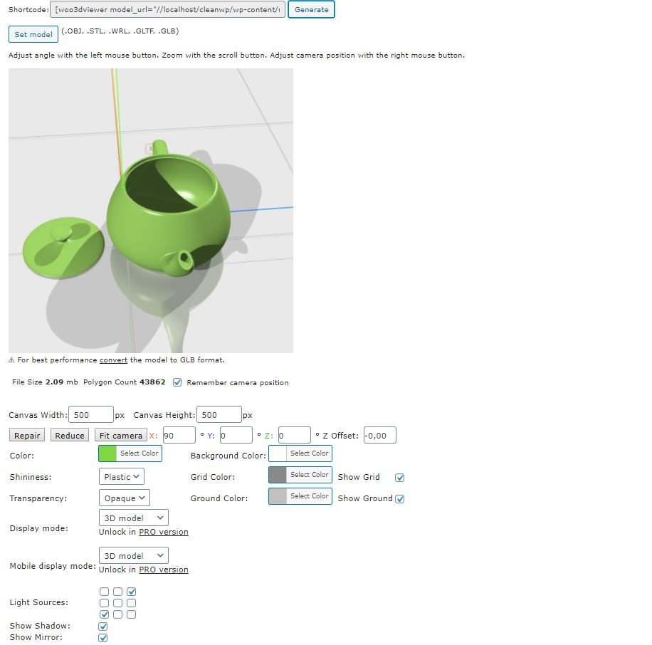 the WooCommerce 3D printing product adjustment of Woo3D Viewer