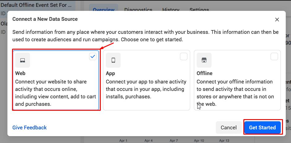 "choose ""Web"", then ""Get Started"""