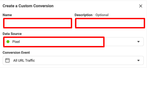 fill in custom conversion's details