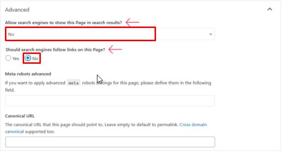 Hide a page in YoastSEO