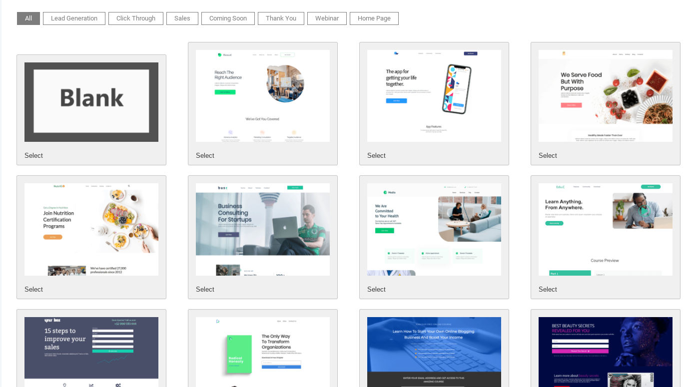 Landing Page Builder's templates