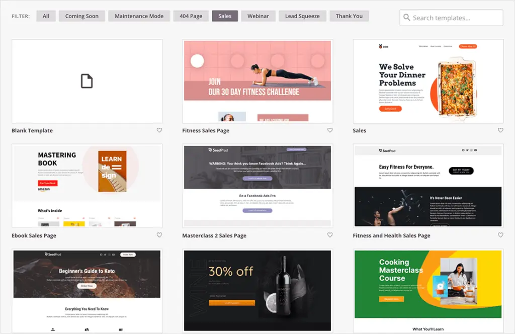 SeedProd's landing page templates