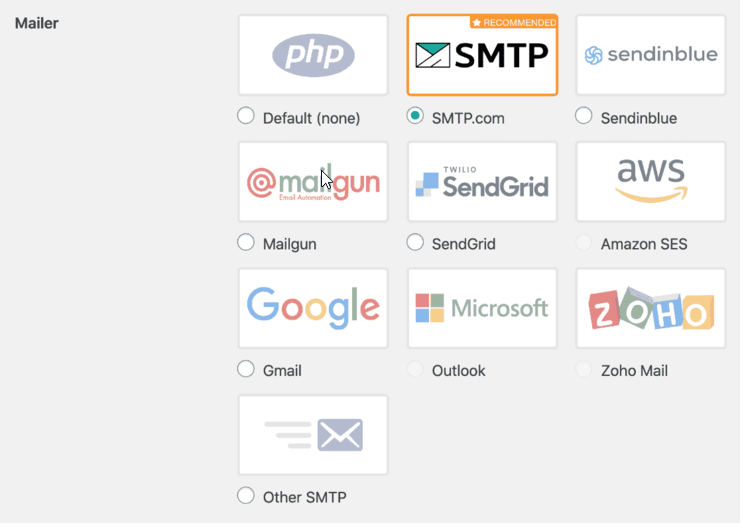 select WP Mail SMTP's mailer options
