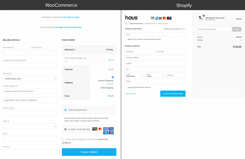 Shopify vs WooCommerce checkout page