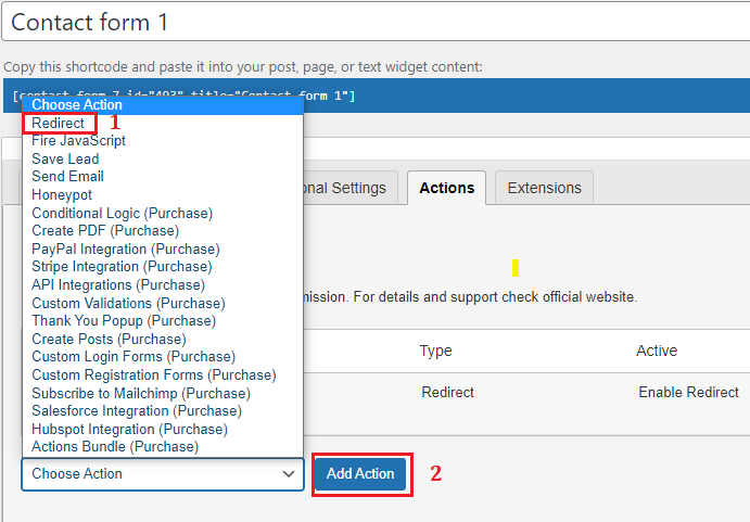 choose Redirect then Add Action
