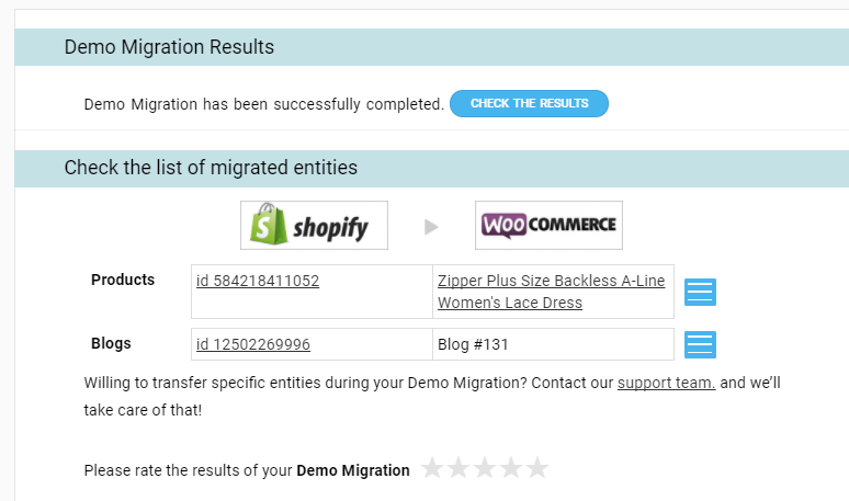 Shopify to WooCommerce demo migration results