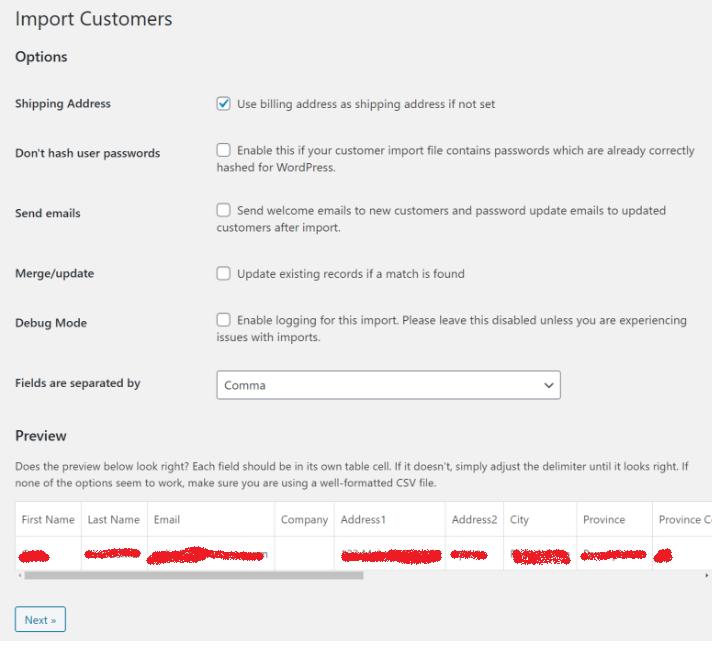 Import Customers settings