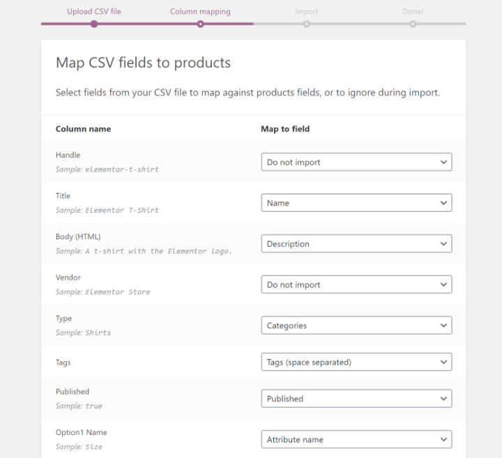 map CSV fields in WooCommerce