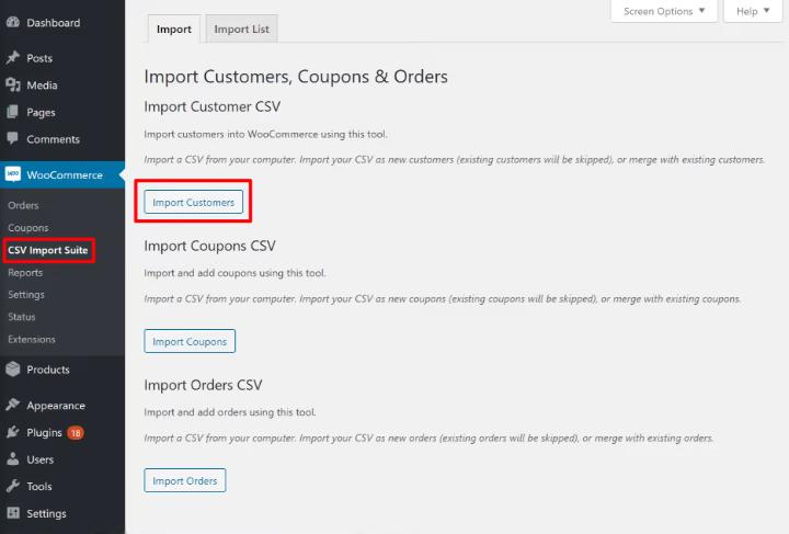 WooCommerce import customers