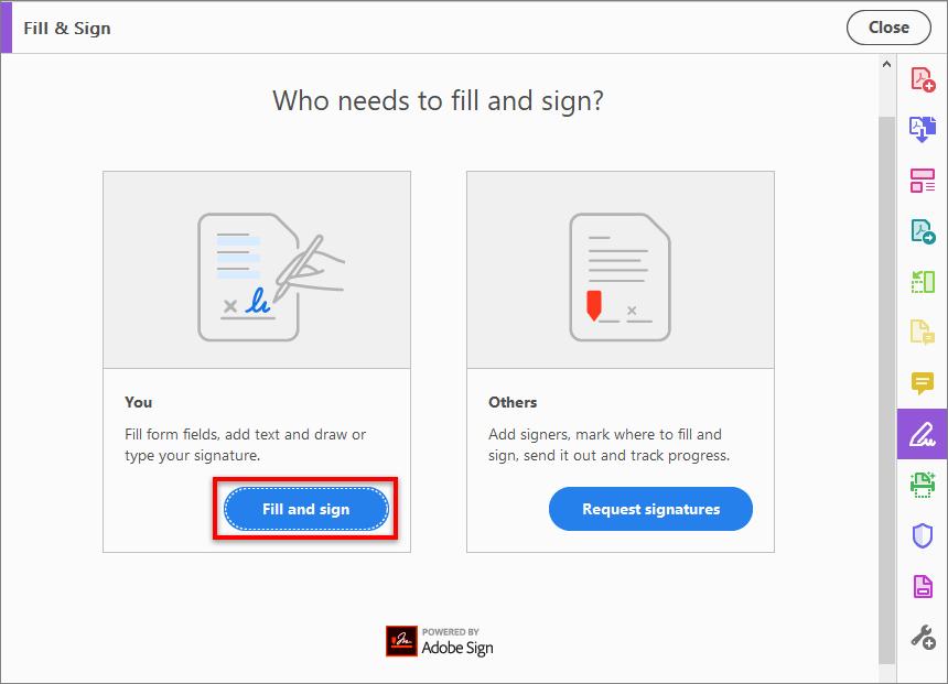 Adobe Reader's Fill and sign