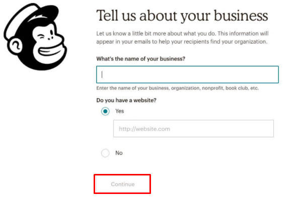 Fill in business info for MailChimp