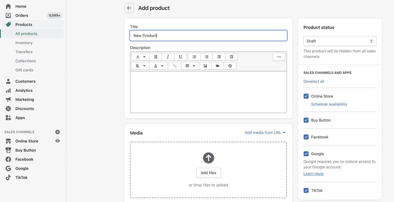 add products to Shopify stores