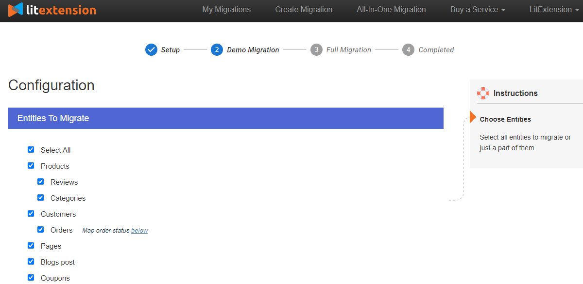 configure data to migrate WooCommerce to Shopify