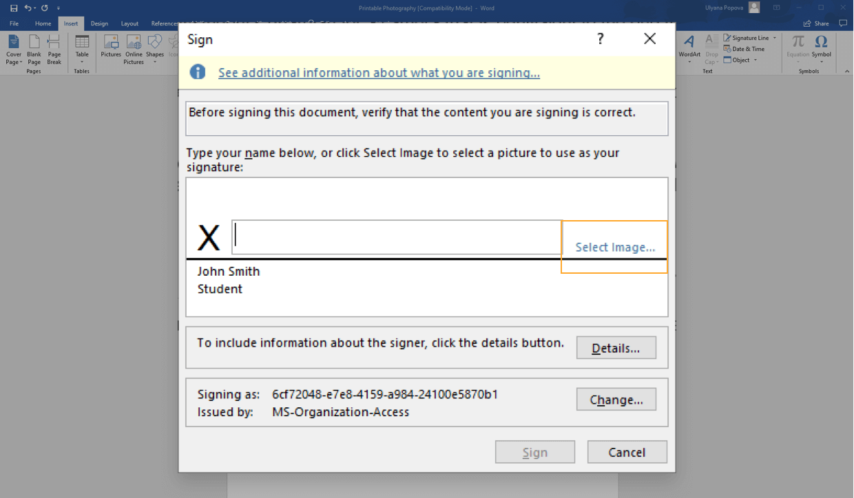 create digital signatures in Word