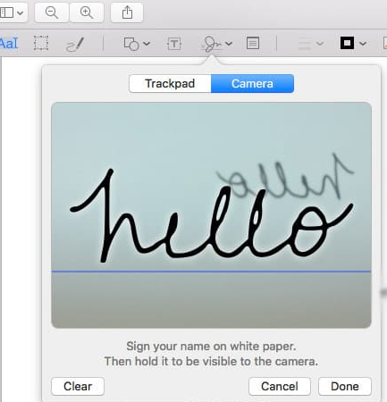 create electronic signatures via camera