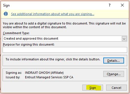 create invisible digital signatures in Word